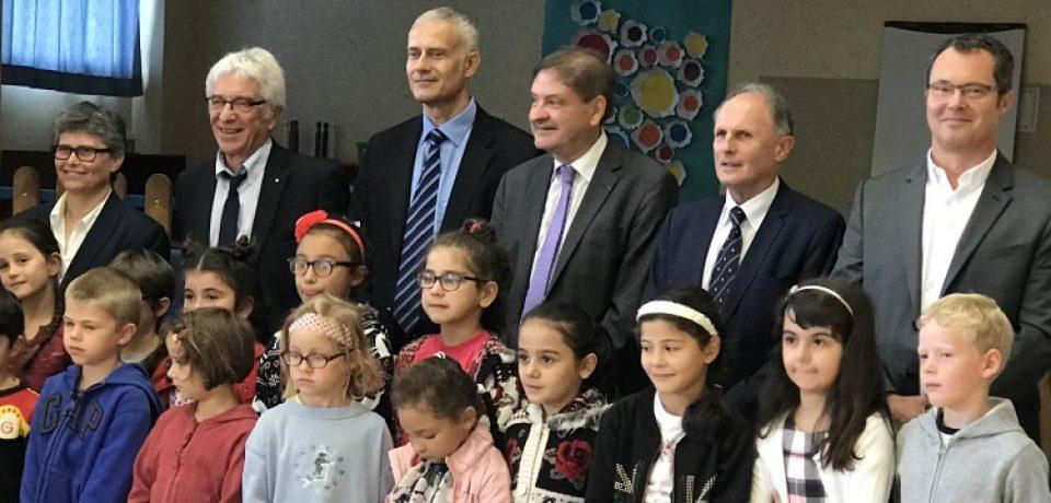 Lundi 4 septembre 2017. Rentrée scolaire à l'école élémentaire Martin Nadaud de Bourganeuf en présence de M. Daniel AUVERLOT, Recteur d'Académie.