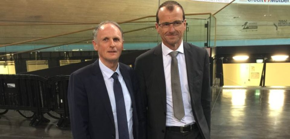 Mardi 17 avril 2018. Visite du centre national du Cyclisme de Saint-Quentin en Yvelines, en présence de Michel CALLOT, président de la Fédération Française de Cyclisme.