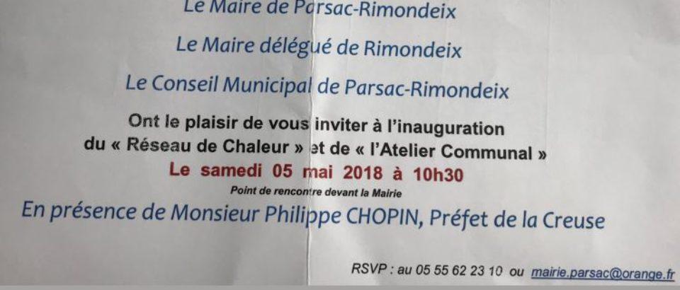 Samedi 5 mai 2018. Inaugurations à Parsac-Rimondeix.