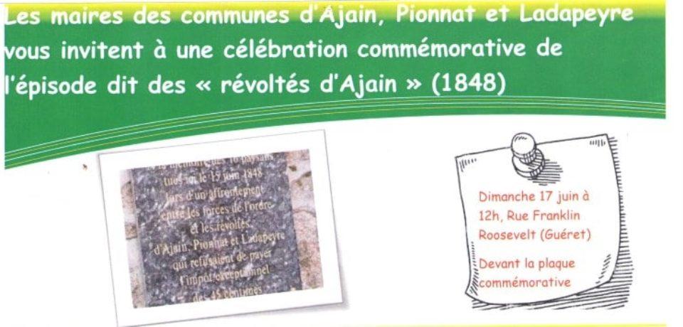 17 juin 2018. Cérémonie commémorative à Guéret.