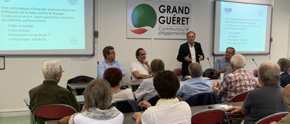 12 octobre 2018. Conférence-débat sur le dopage dans le sport, dans le cadre des 90 ans de la Fédération des Œuvres Laïques de la Creuse.