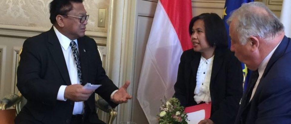 25 septembre 2018. Rencontre avec le Président du Sénat indonésien, aux côtés de Gérard LARCHER, Président du Sénat français, au nom du groupe interparlementaire d'amitié France-Indonésie.