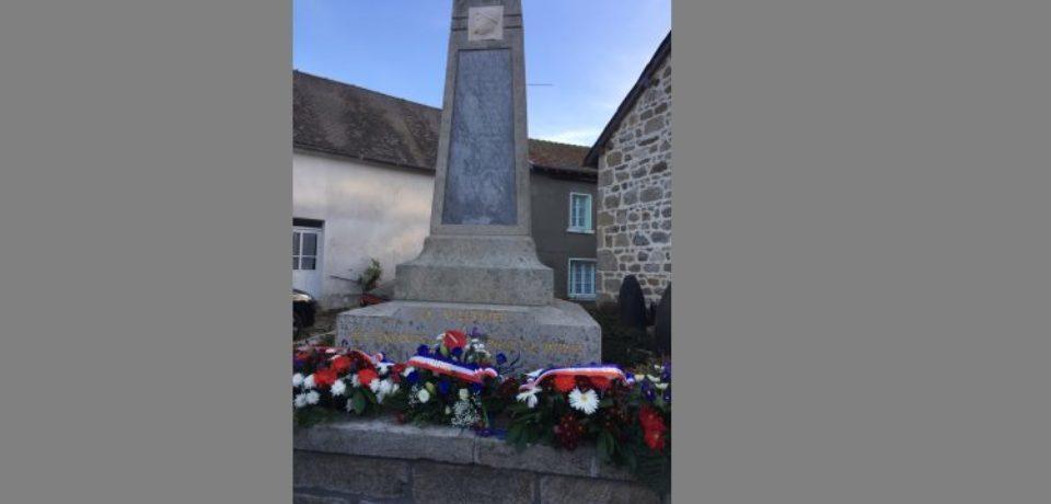 11 novembre 2018. Cérémonie commémorative à La Villedieu, à l'initiative de l'association des Maires et Adjoints de la Creuse.