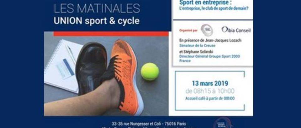 13 mars 2019. Intervention lors des Matinales d'Union Sport et cycle.