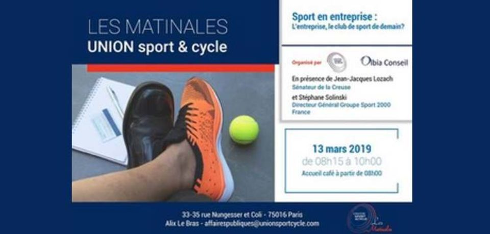 13 mars 2019. Intervention lors des Matinales d'Union Sport et cycle.
