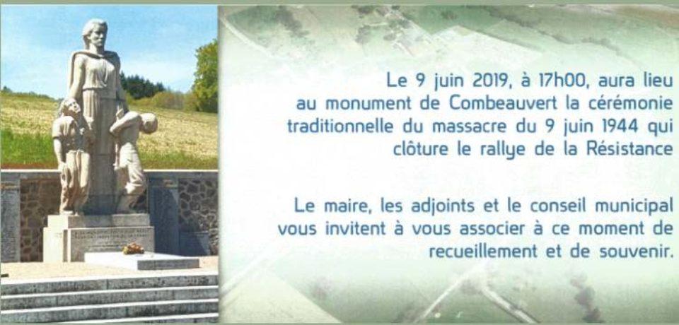 9 juin 2019. Commémoration et dépôt de gerbe au monument de Combeauvert, commune de Janaillat