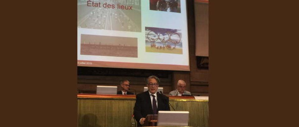 9 juillet 2019. Assemblée plénière du Conseil économique , social et environnemental. Présentation du rapport sur l'économie du Sport.