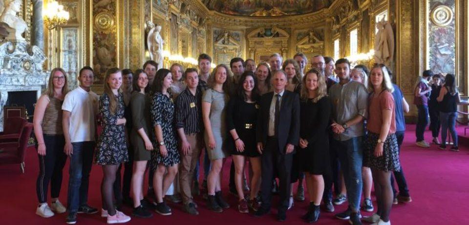 Mercredi 18 avril 2018. Accueil et organisation d'une visite du Palais du Luxembourg pour un groupe d'étudiants de l'Université d'Utrecht, Pays-Bas.