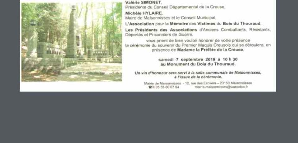 7 septembre 2019. Cérémonie de commémoration du massacre du Bois du Thouraud
